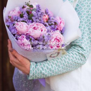 "Букет ""Lavender Paradise"" (9 пионов, статица)"